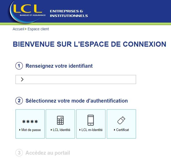 lcl pro entreprise access sécure identification